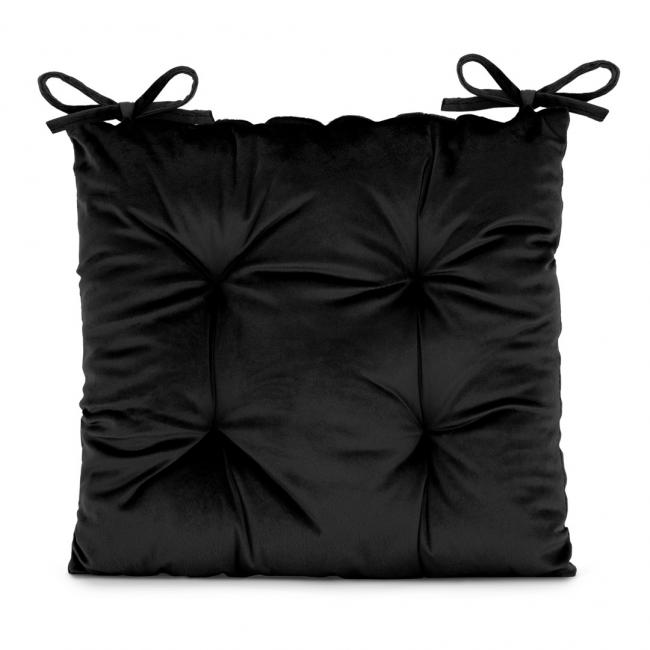Amelia Home - poduszka na krzesło welwetowa - 40x40 cm - czarna