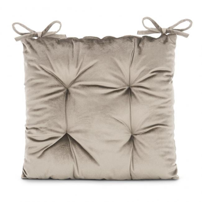 Amelia Home - poduszka na krzesło welwetowa - 40x40 cm - beżowa