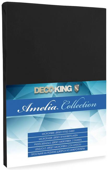 DecoKing -  Prześcieradło z mikrofibry, z gumką, czarne, różne rozmiary