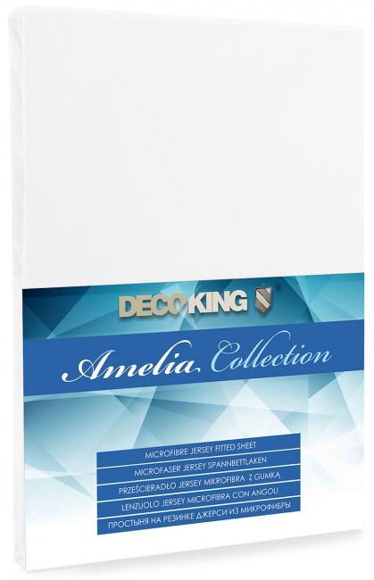 DecoKing -  Prześcieradło z mikrofibry, z gumką, białe, różne rozmiary