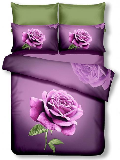 DecoKing - POŚCIEL Z MIKROFIBRY 3D, fioletowa róża - różne rozmiary