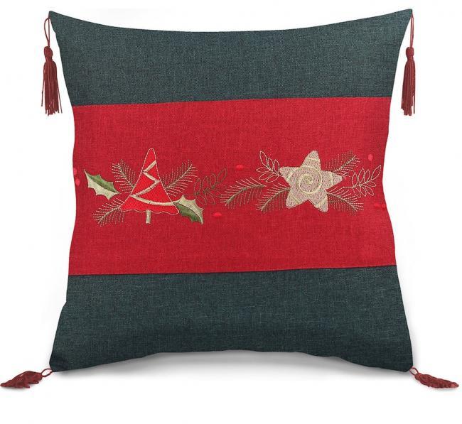 Poszewka z bawełny, wzór świąteczny, 40x40cm - 2 sztuki