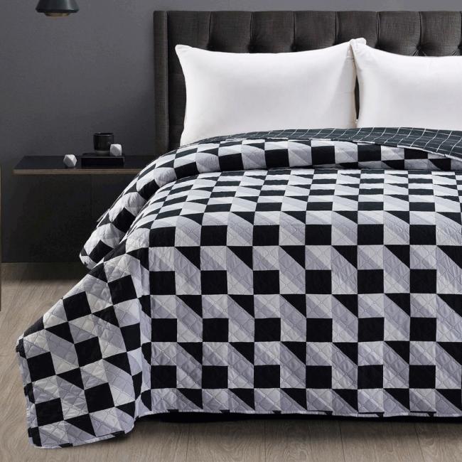 DecoKing - Narzuta dwustronna, biało-czarna, wzory geometryczne - różne rozmiary