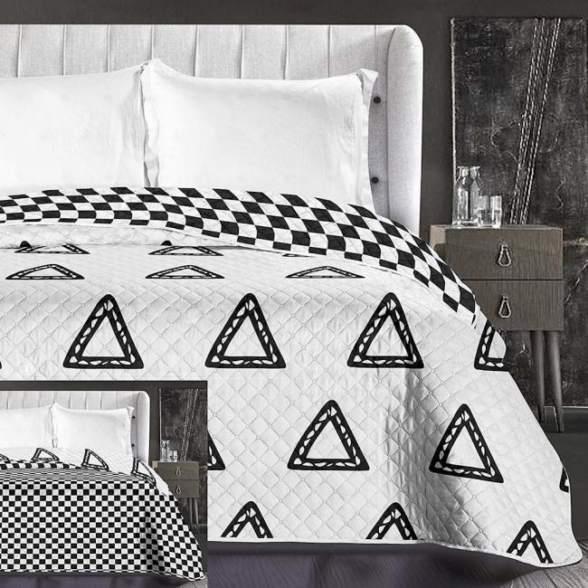 DecoKing - Narzuta dwustronna, biało-czarna, trójkąty - różne rozmiary