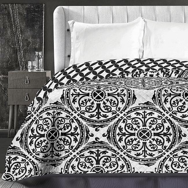 DecoKing - Narzuta dwustronna, biało-czarna, wzory - różne rozmiary