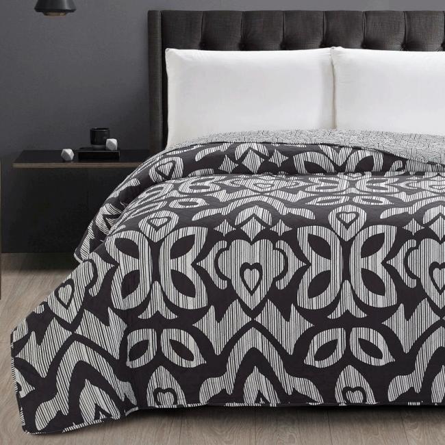 DecoKing - Narzuta dwustronna, czarno-szara, wzory abstrakcyjne - różne rozmiary