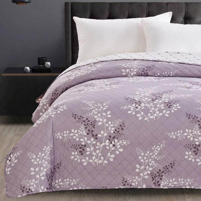 DecoKing - Narzuta dwustronna, liliowa, wzory kwiatowe - różne rozmiary