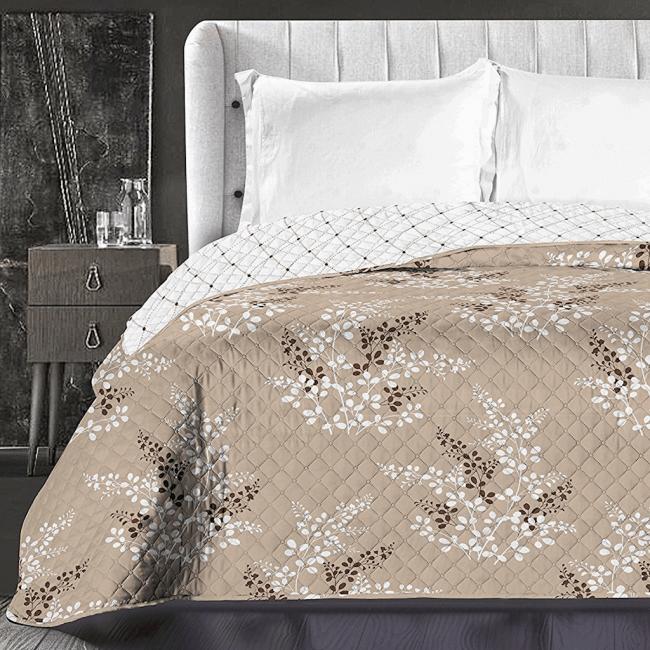 DecoKing - Narzuta dwustronna, brązowo-beżowa, wzory kwiatowe - różne rozmiary