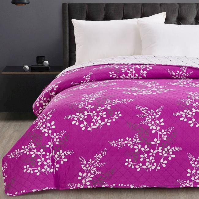DecoKing - Narzuta dwustronna, fioletowo-kremowa, wzory kwiatowe - różne rozmiary