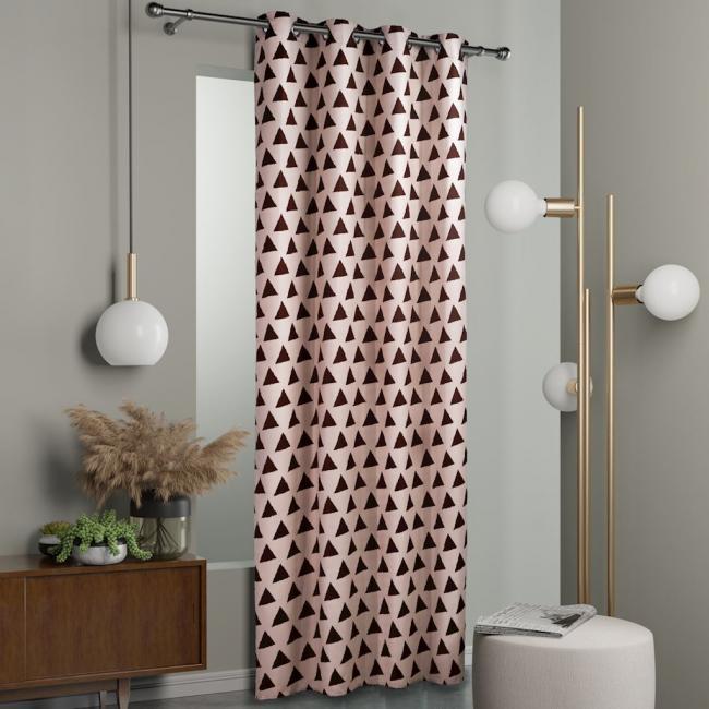DecoKing - Zasłony  Beżowo - Brązowe TRIANGLES 140x245 cm