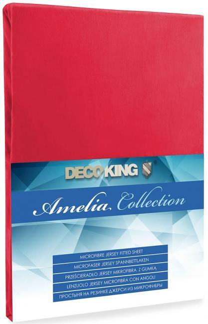 DecoKing - Prześcieradło z mikrofibry, gumki, czerwone - różne rozmiary