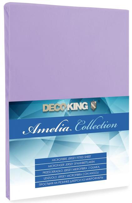 DecoKing - Prześcieradło z mikrofibry, gumki, fioletowe - różne rozmiary