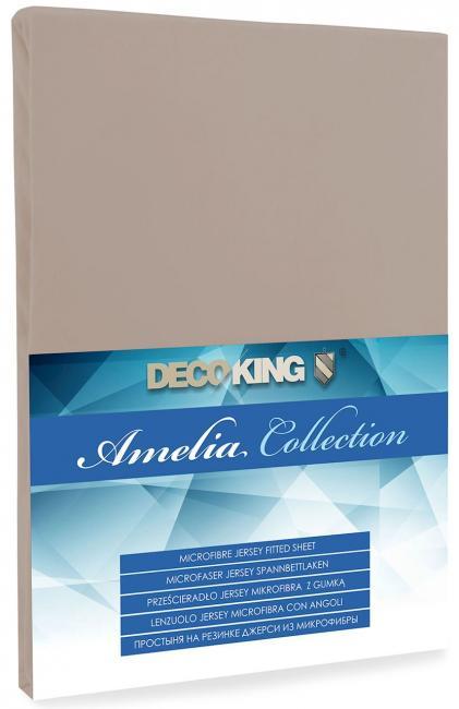 DecoKing -  Prześcieradło z mikrofibry, z gumką, capuccino, różne rozmiary