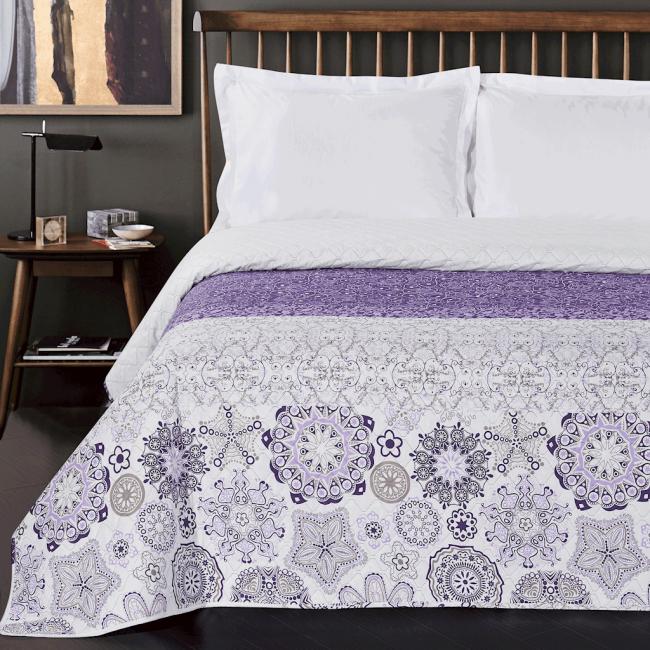 DecoKing - Narzuta dwustronna, biało-fioletowa, wzór ornamentowy - różne rozmiary