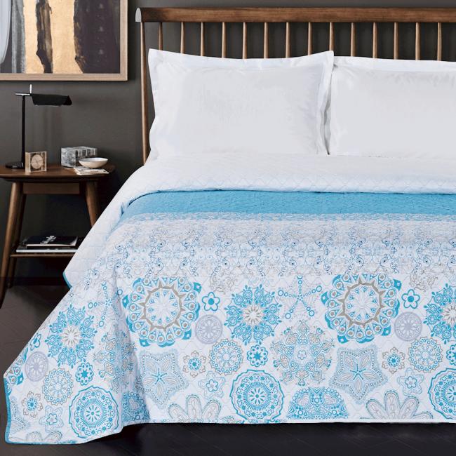 DecoKing - Narzuta dwustronna, biało-niebieska, wzór ornamentowy - różne rozmiary