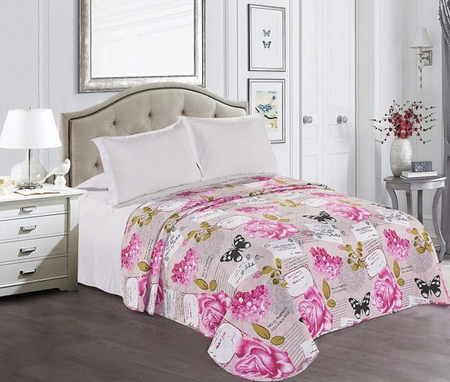 DecoKing - Narzuta biało-różowa, wzór kwiatowy - różne rozmiary
