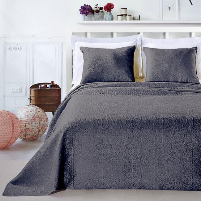 DecoKing - Narzuta szara + poszewka na poduszkę 50x60 cm - różne rozmiary