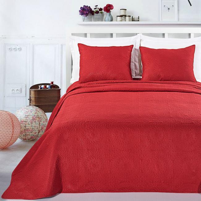 DecoKing - Narzuta czerwona + poszewka na poduszkę 50x60cm - różne rozmiary