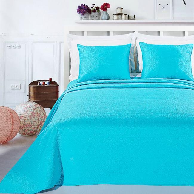 DecoKing - Narzuta i poszewka na poduszkę w kolorze turkusowym