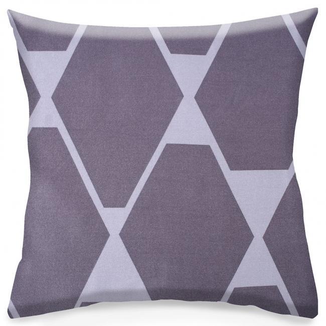 DecoKing - Poszewka z bawełny, szara, wzory geometryczne, 40x40cm - 2 sztuki