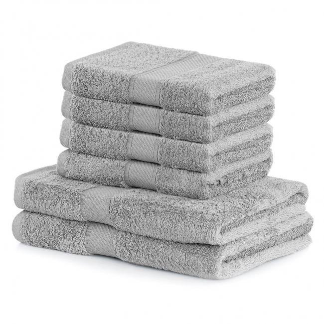DecoKing - Ręcznik kąpielowy Bambusowy  srebrny - 6 sztuk