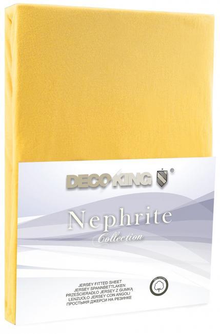 DecoKing -  Prześcieradło z bawełny, z gumką, żółte, różne rozmiary