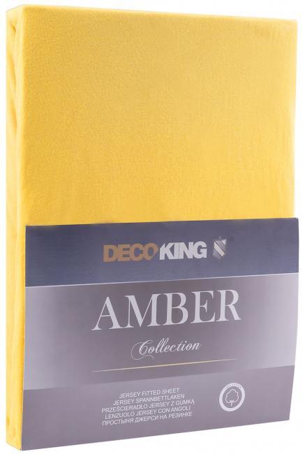 DecoKing -  Prześcieradło z bawełny, z gumką, żółty, różne rozmiary