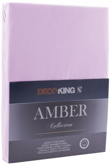 DecoKing -  Prześcieradło z bawełny, z gumką, liliowe - różne rozmiary