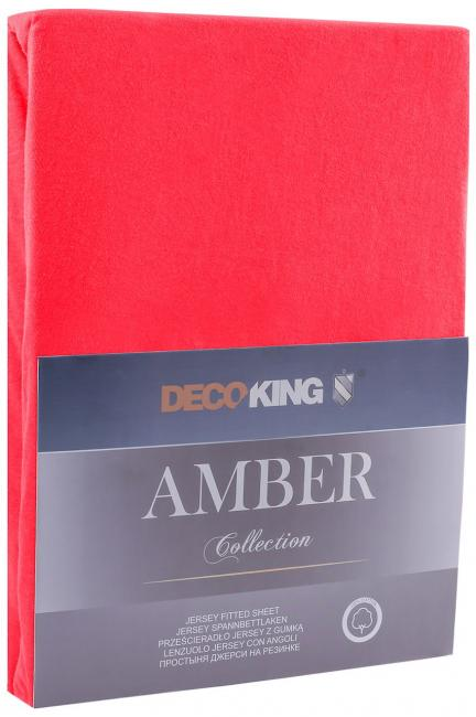 DecoKing -  Prześcieradło z bawełny, z gumką, czerwone, różne rozmiary