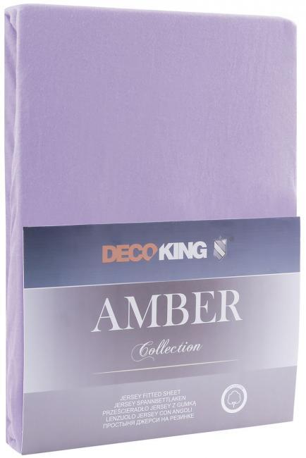 DecoKing -  Prześcieradło z bawełny, z gumką, fioletowe, różne rozmiary
