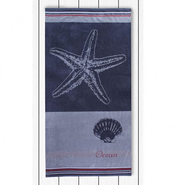 DecoKing - Ręcznik Plażowy Bawełniany szary GREY ROZGWIAZDA