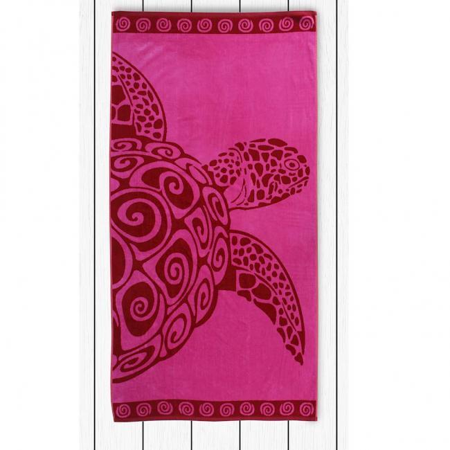 DecoKing - Ręcznik Plażowy Bawełniany Różowy PINK TURLE Z ŻÓŁWIEM 90x180