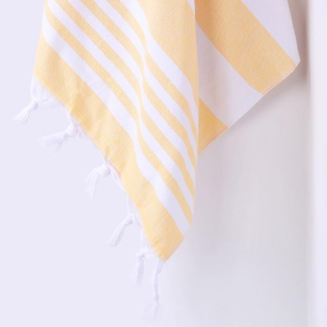 DecoKing - Ręcznik Plażowy Boho Żółty SANTORINI Z FRĘDZLAMI