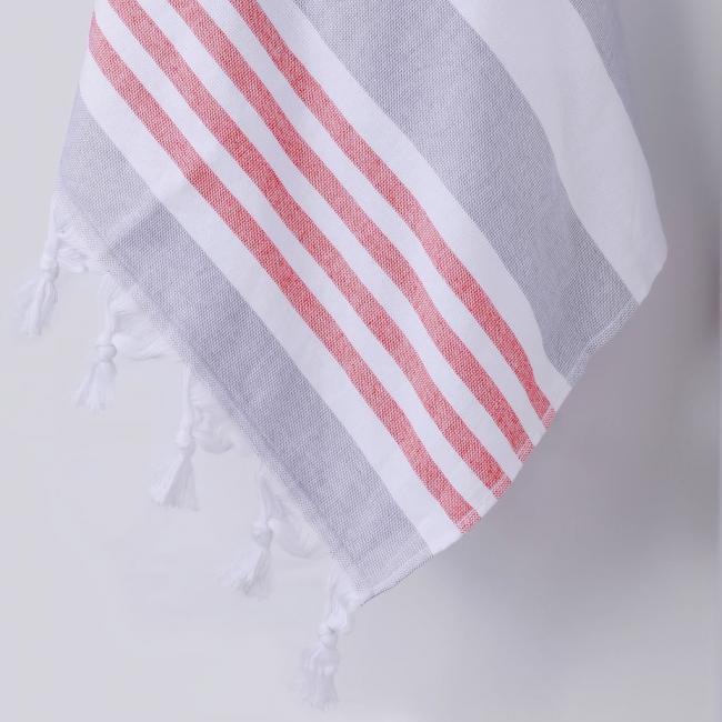 DecoKing - Ręcznik Plażowy Boho Szary SANTORINI Z FRĘDZLAMI 90x170cm