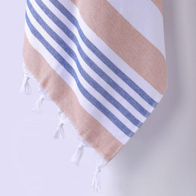 DecoKing - Ręcznik Plażowy Boho Cappucino SANTORINI Z FRĘDZLAMI 90x170cm