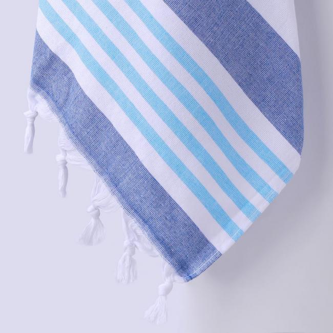 DecoKing - Ręcznik Plażowy Boho Ciemnoniebiski SANTORINI Z FRĘDZLAMI 90x170cm